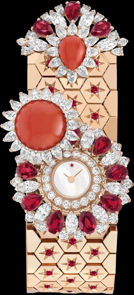 Ludo Secret watch Rose gold, rubies, coral, white mother-of-pearl, diamonds, quartz movement