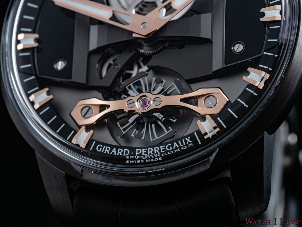 Once again, Girard-Perregaux has capitalised on silicon's ability to be formed into intricate shapes, using the state of the art material to create not only the escapement but also a large variable inertia balance. Most watches feature a 'raquette' which alters the effective length of the balance spring, making the watch run faster or slower. With a variable inertia balance, the length of the balance spring is fixed and the rate is altered by moving adjustable inertia blocks. The benefit of this approach is that the balance is more stable and less susceptible to shocks. Its aerial design, as well as its large-diameter, further augment precision