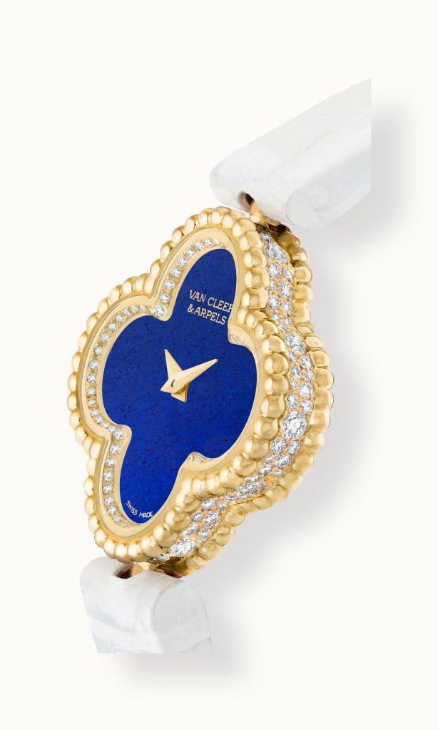 Sweet Alhambra watch, yellow gold, diamonds, dial in lapis lazuli, alligator bracelet, quartz movement