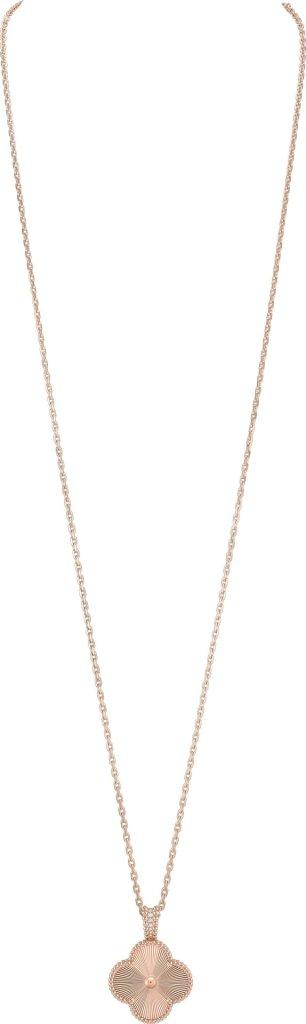 Alhambra secret pendant watch, rose gold, guilloché rose gold, diamonds, dial in white mother-of-pearl, quartz movement