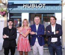 Fabio Rovazzi Diletta Leotta Ricardo Guadalupe and Giorgio Rocca at the opening of the Hublot Boutique Forte Dei Marmi