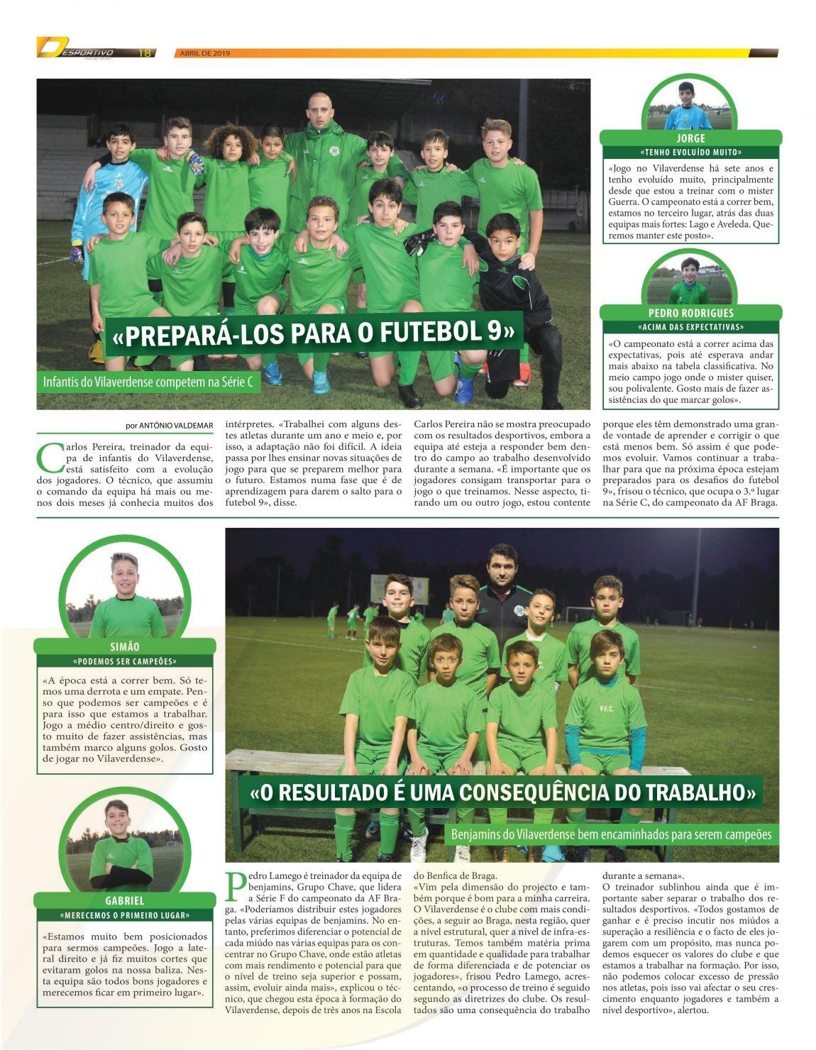 Formação do Vilaverdense em destaque na edição de Abril