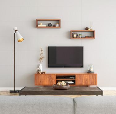 meuble tv en bois zoom sur des