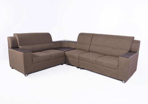 sofa materials bangalore dog friendly covers emilio jute l shaped set on rent in guarented 5 seater