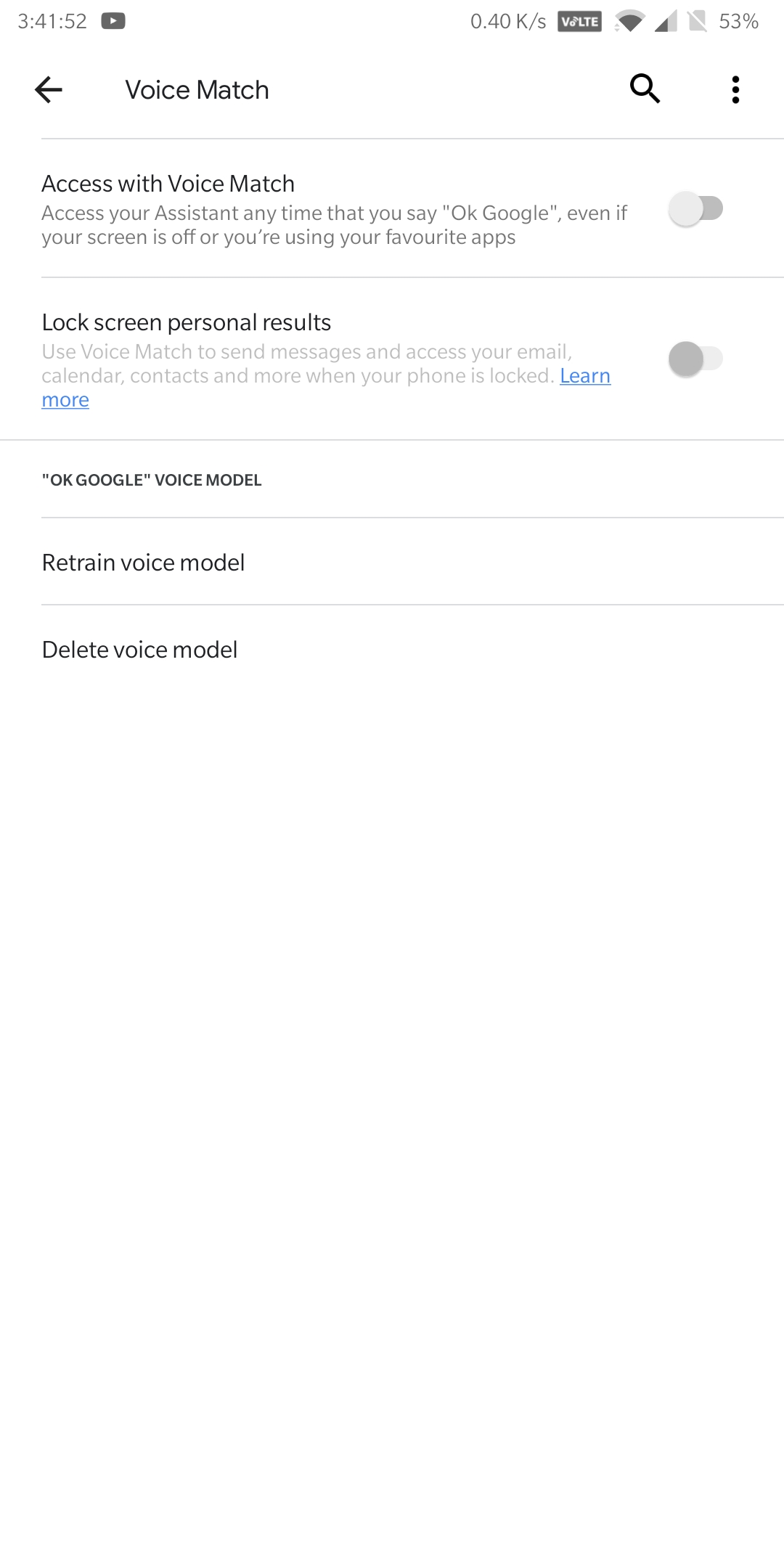 Voice Match Not Working