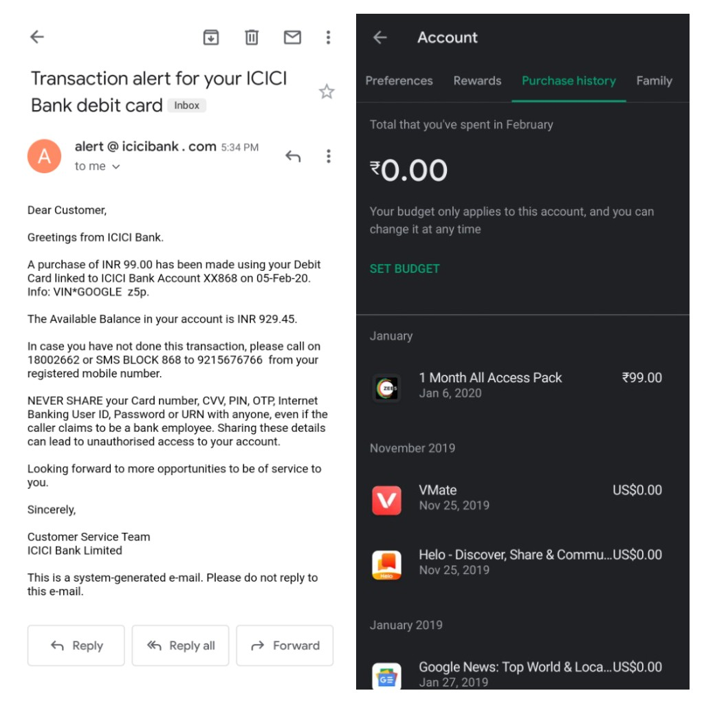 Payment Deducted From Bank Account But Not Reflecting In Order History Of Google Play Store Account Google Play Community