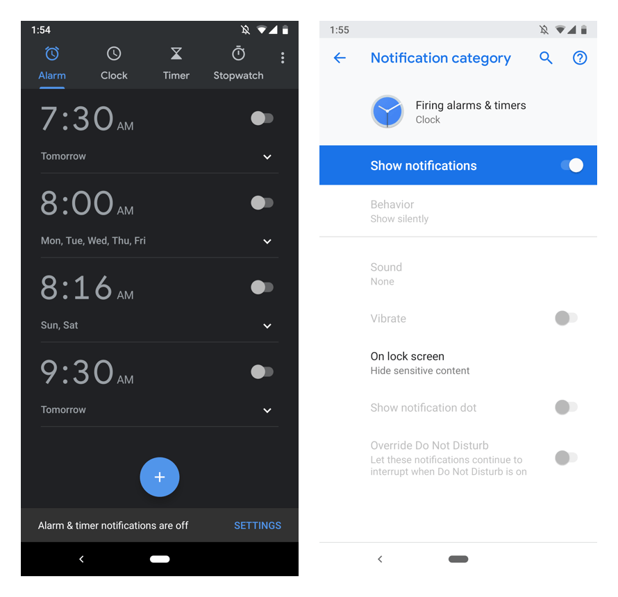 alarm timer notifications are
