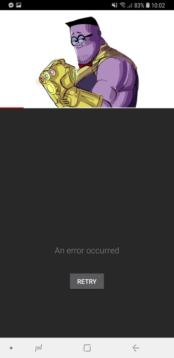 An error occurred on android but can still play youtube videos ...