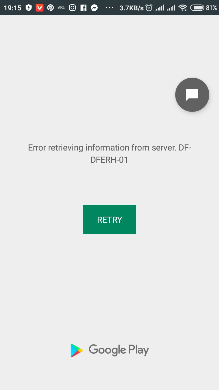 DF-DFERH-01 Google Play Store Error while retrieving