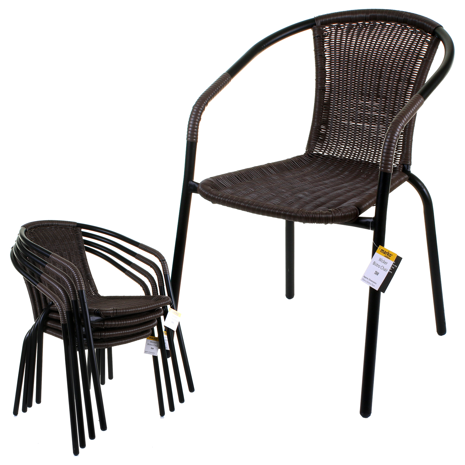 White Bistro Chairs Details About Tan Bistro Chair Garden Wicker Rattan Metal Frame Woven Seats Indoor Outdoor New