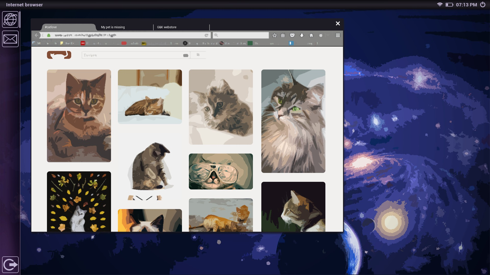 in-game laptop, desktop with galaxy background, browser window open with cat pics, 3/10 free steam games