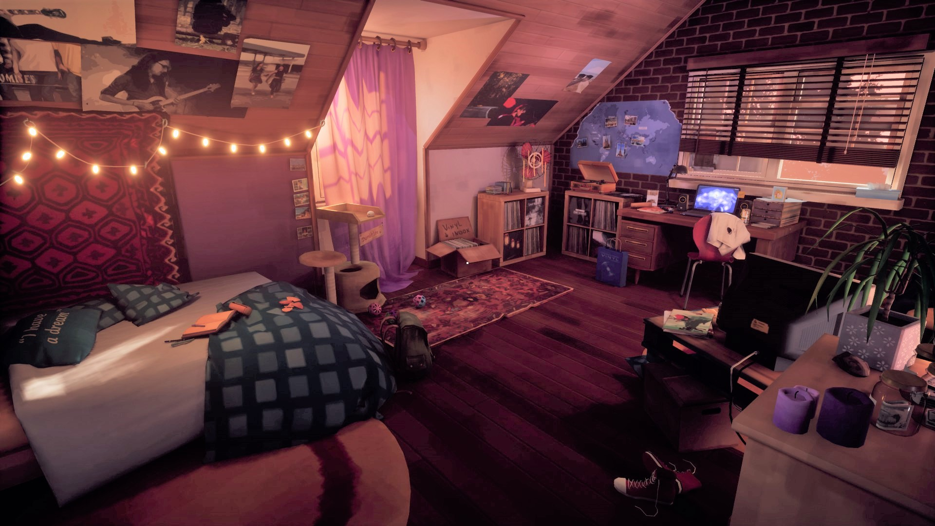 dimly lit bedroom, various clutter and decor on walls and floors, 3/10 free steam games
