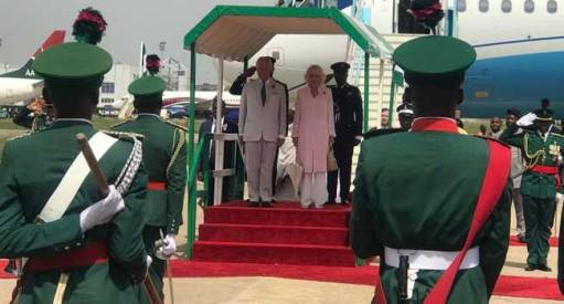 Prince Charles and his wife, the Duchess of Cornwall on arrival in Abuja.