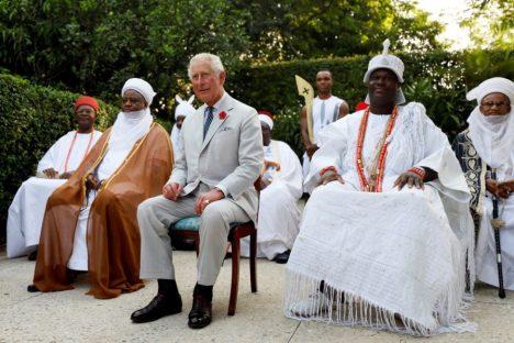 Prince Charles flanked by Ooni of Ife Adeyeye Ogunwusi (right) and the Sultan of Sokoto Sa'ad Abubakar III