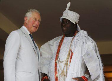 Prince Chairles with Ooni of Ife Adeyeye Ogunwusi (right)