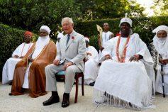 Prince Chairles flanked by Ooni of Ife Adeyeye Ogunwusi (right) and the Sultan of Sokoto Sa'ad Abubakar III