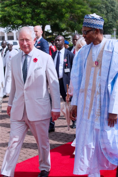 PRESIDENT BUHARI RECEIVED PRINCE CHARLES AND WIFE 4. R-L; President Muhammadu Buhari walks the Royal Highess, Prince Charle and his wife, Camilla on a visit to Nigeria, State House in Abuja.