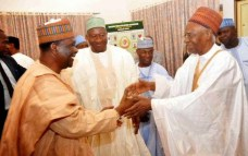 SHagari with former Head of State General Yakubu Gowon and former President Goodluck Jonathan
