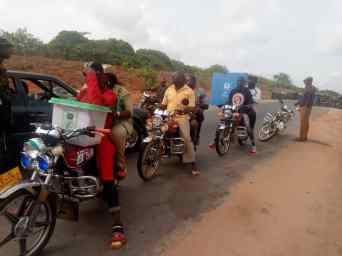 Motorbikes conveying INEC ad hoc staff and election materials to polling units