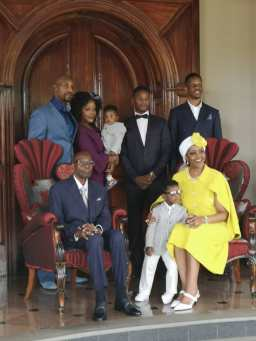 Mugabe, wife Grace, and their children