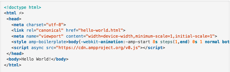 Screenshot showing how AMP HTML tag works