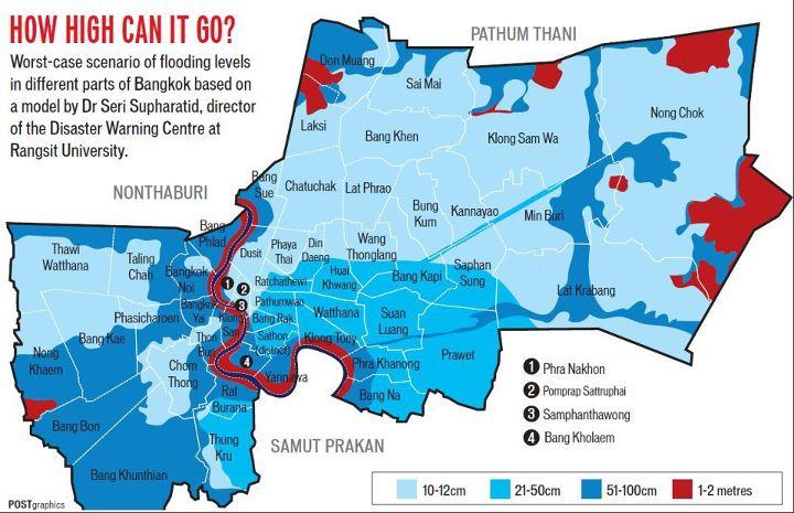 Cartes des zones inondables de Bangkok (Bangkok Post)