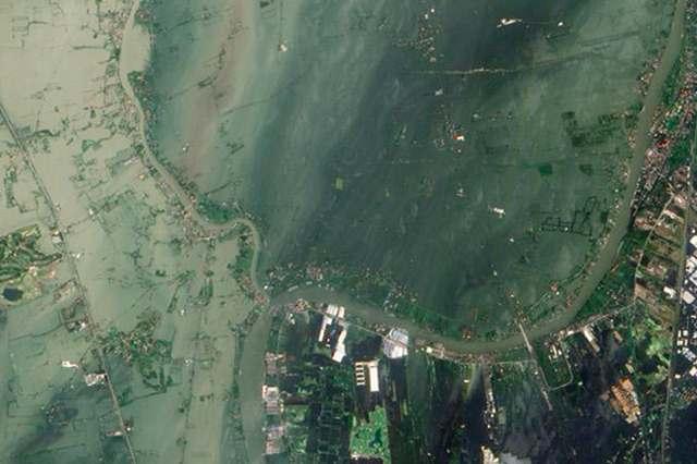 La zone d'Ayutthaya, à environ 50km au nord de Bangkok, vue par satellite