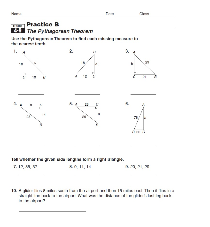 hight resolution of Pythagorean theorem coloring activity pages