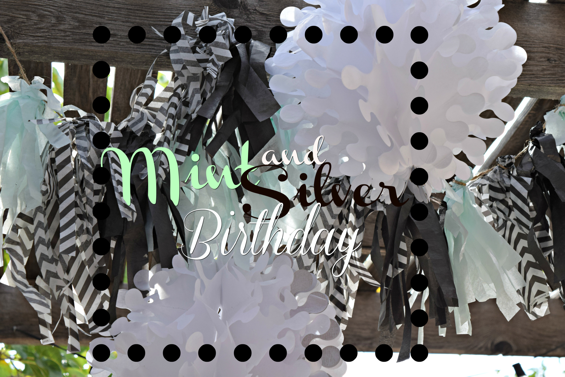 mint and silver banner for birthday party