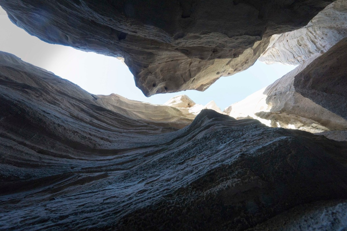 Looking up in the slot canyon at the sky above