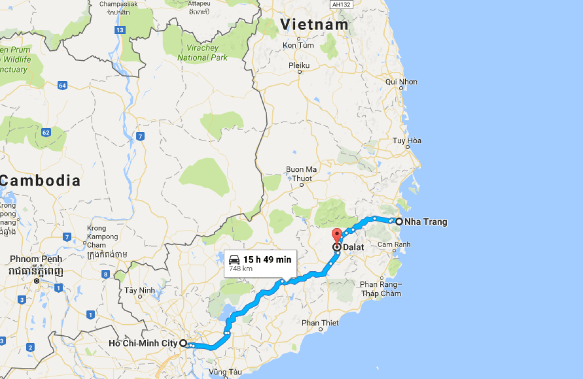 map showing how to get to da lat, vietnam from nha trang or Ho Chi Minh City