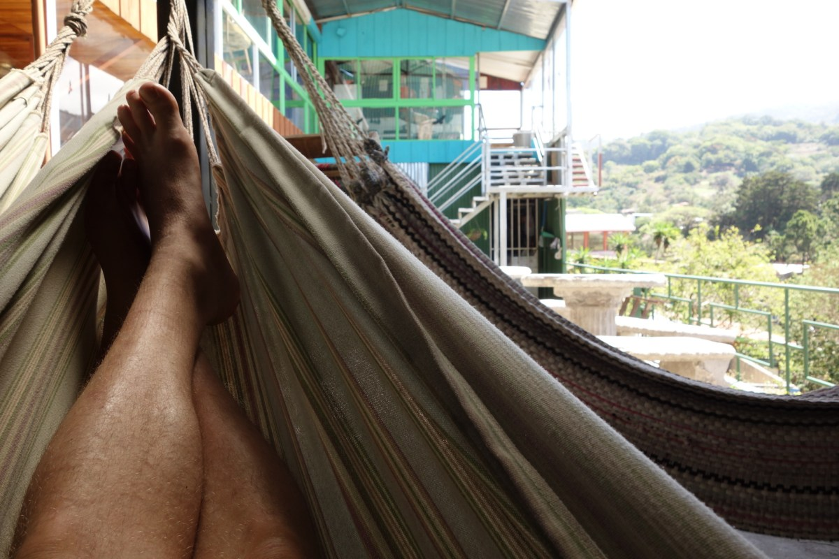 Relaxing in a hammock overlooking the small town of sante Elena costa rica