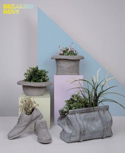 Pot de fleurs en béton en forme de chapeaux, de chaussures et de sac