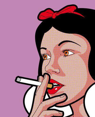 Blanche Neige fume une cigarette