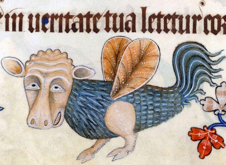 Tête de vache et corps d'oiseau de Luttrell Psalter (Angleterre 1325-1340)