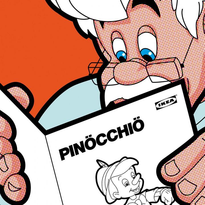 Gepetto lit le mode d'emploi Pinocchio d'Ikea