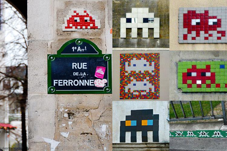 Les multiples Space Invader en mosaïque rue de la Perronne à Paris