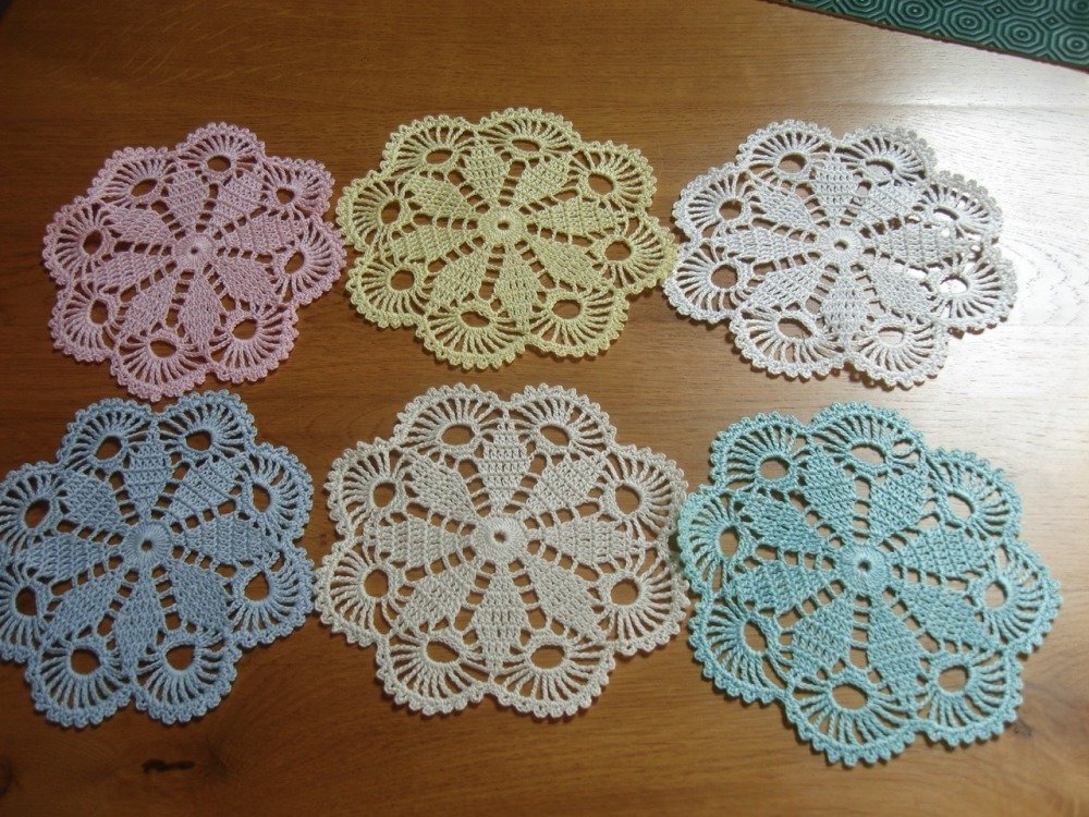 lot 6 napperons crochet d art
