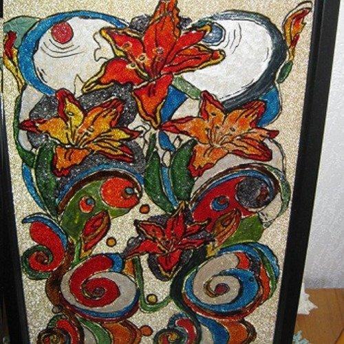 tableau vitrail fleurs de lys art deco