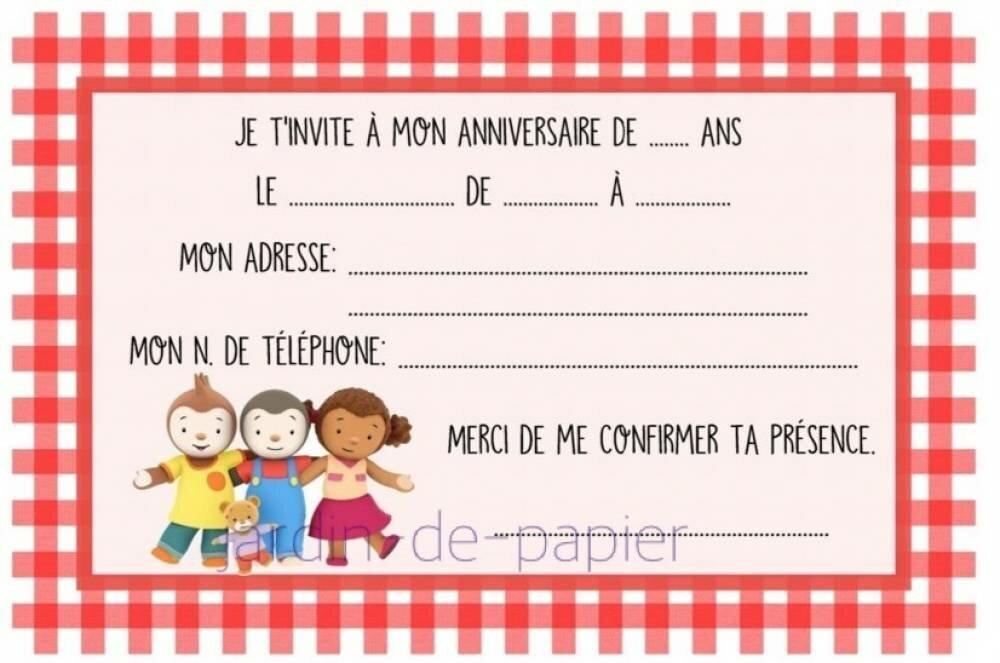carte d invitation anniversaire enfant