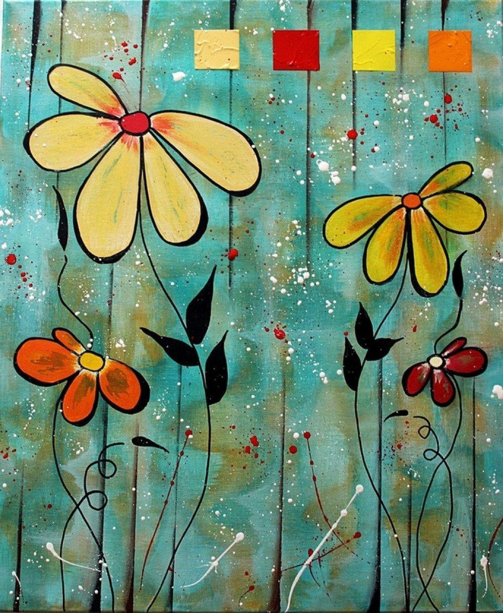 peinture contemporaine fleur style naif