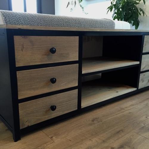 meuble tv acier noir et bois 6 tiroirs