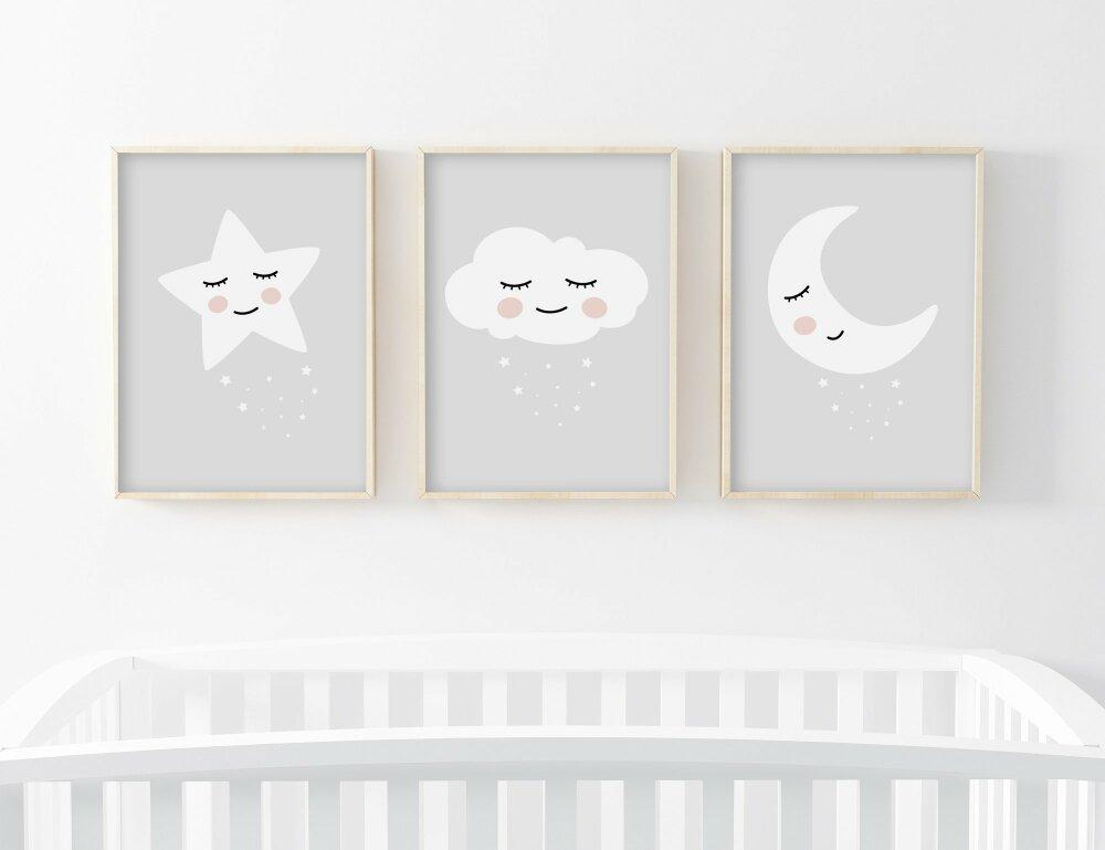 lot 3 affiches enfant a4 lune etoile