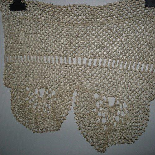 2 rideaux brise bise ecru au crochet