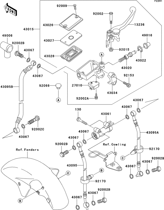 Front master cylinder(c1/c2) for 2003 Kawasaki ZX1200