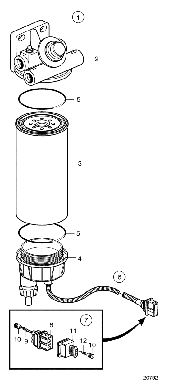 Fuel filter and water separator (20593528) for Volvo Penta
