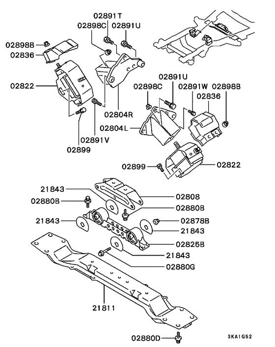 Engine mounting & support for 1997 Mitsubishi PAJERO