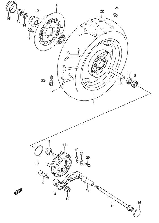 Заднее колесо для Suzuki VL1500, год: 1998. OEM запчасти