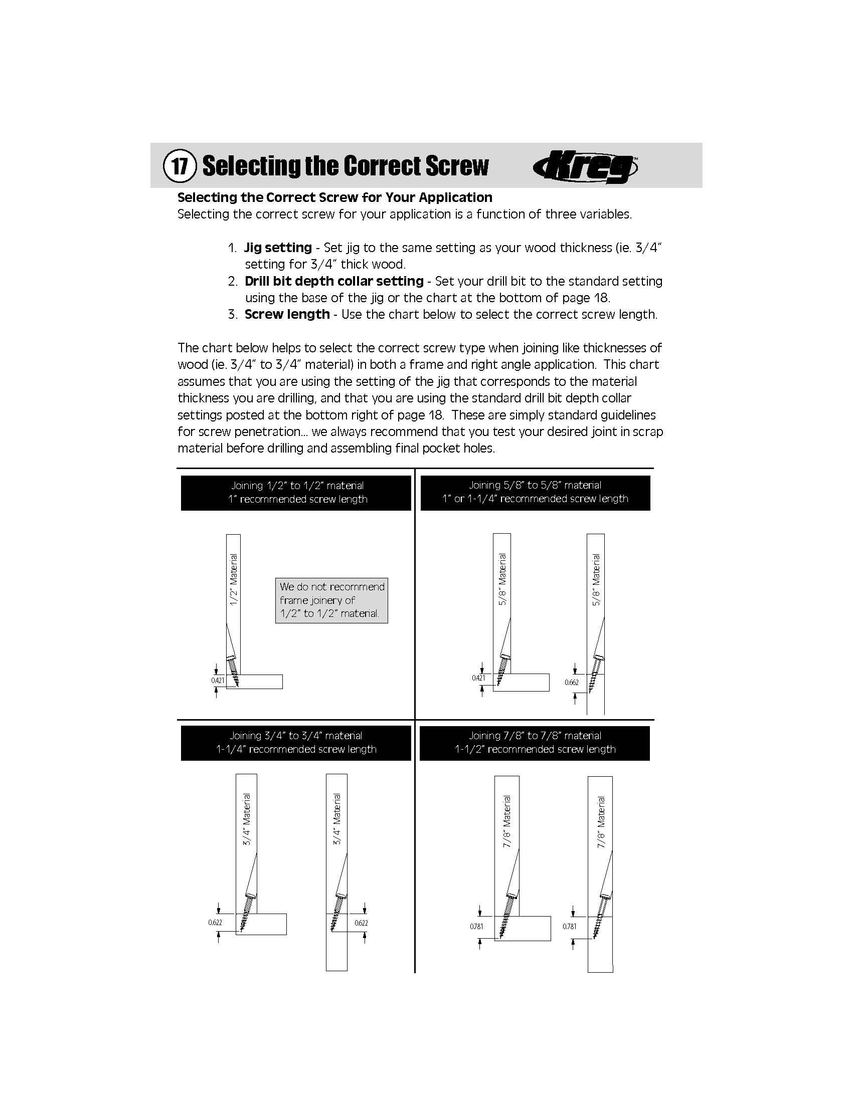 Kreg Screw Length Guide : screw, length, guide, Setting, Collar, 1-1/4