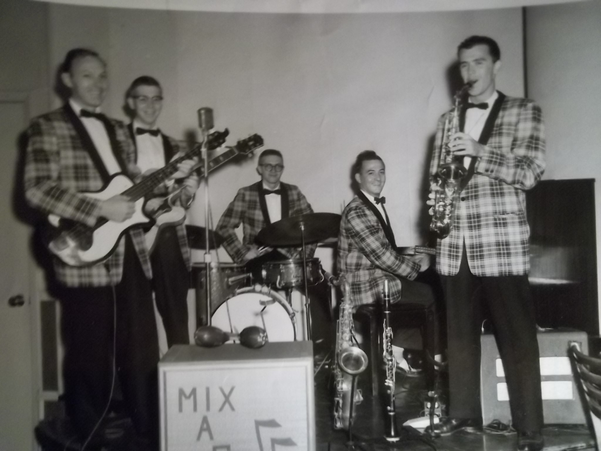 small resolution of thats my dad on the front left that electric bass guitar he has he made he model it after his danelectro